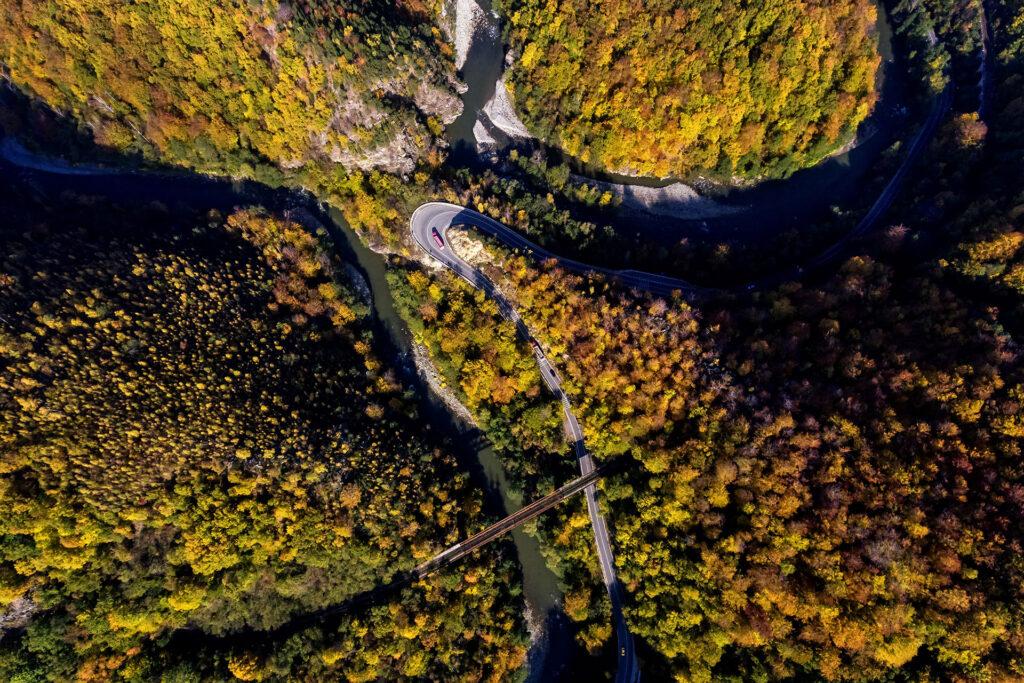 Jiu Defile in Romania Aerial View